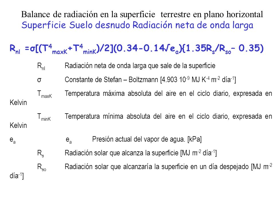 Rnl =σ[(T4maxK+T4minK)/2](0.34-0.14√ea){1.35Rs/Rso– 0.35)